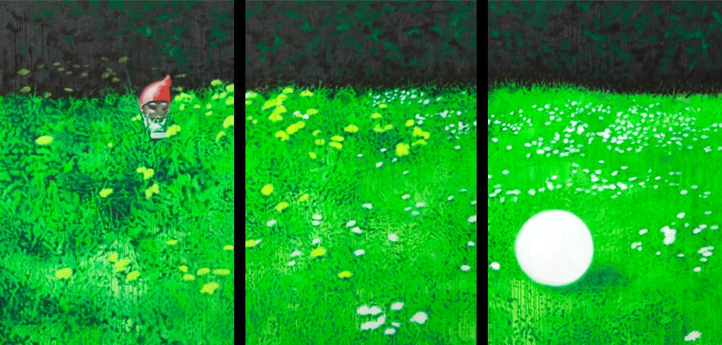 Die Suche nach Erlösung von dem was uns lenkt | 2011 | Acryl auf Leinwand | 110 X 330 cm (Triptychon)