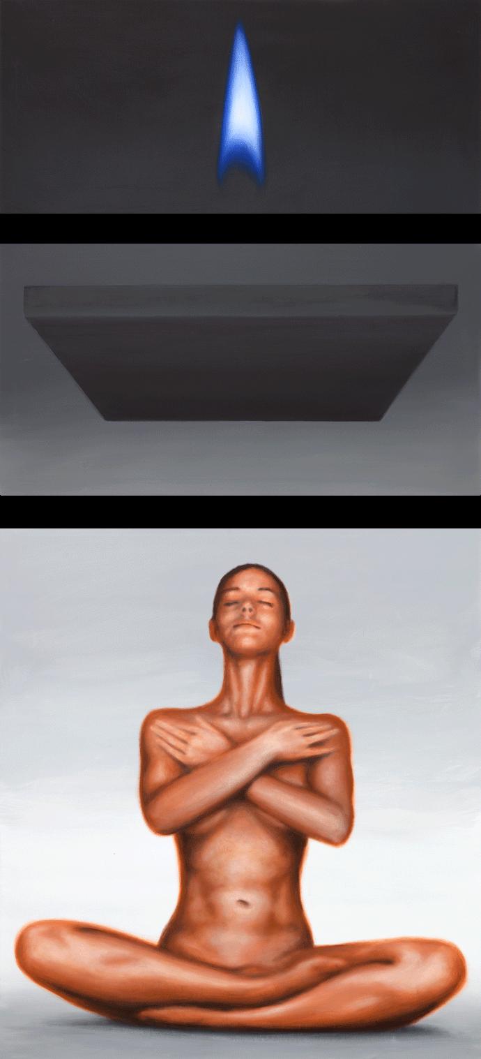 Zusammenhängend 03 (Frau meditierend, dunkle Platte, blaue Flamme) | 2012 | Acryl auf Leinwand | dreiteilig 215 x 100 cm | •