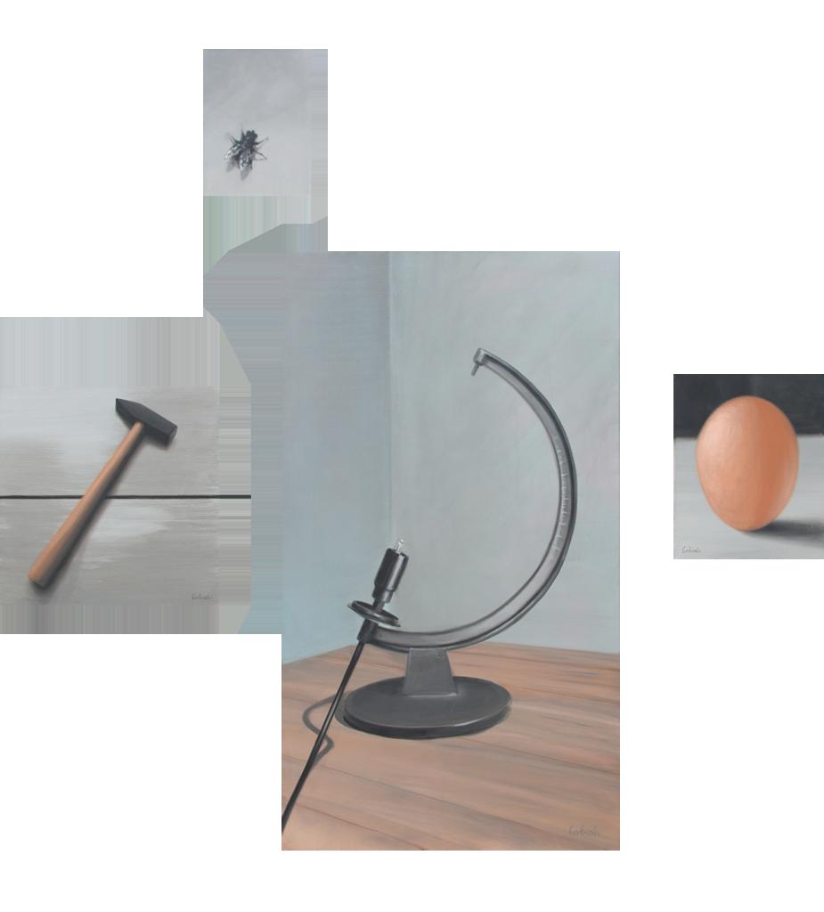 Zusammenhängend 02 (Globus, Hammer, Ei, Fliege) | 2012 | Acryl auf Leinwand | vierteilig 200 x 200 cm