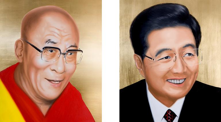 Zusammenhängend 04 (Dalai Lama und Chinas Präsident Hu Jintao) | 2008 | Öl und Blattgold auf Alubibond | je 70 x 60 cm