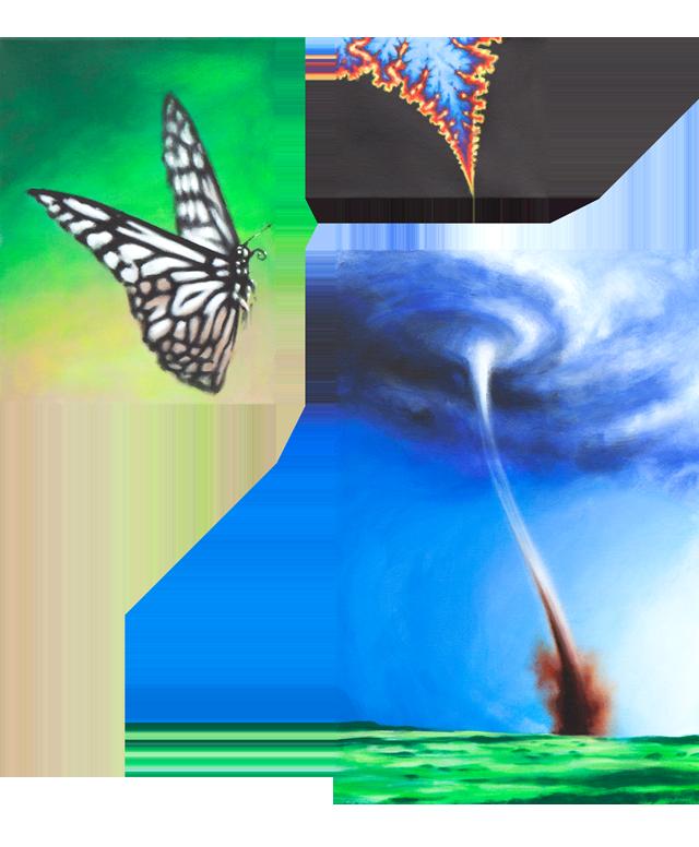 Zusammenhängend 06 (Wirbelsturm, Schmetterling, Fraktal) | 2012 | Acryl auf Leinwand | dreiteilig 70 x 100 cm
