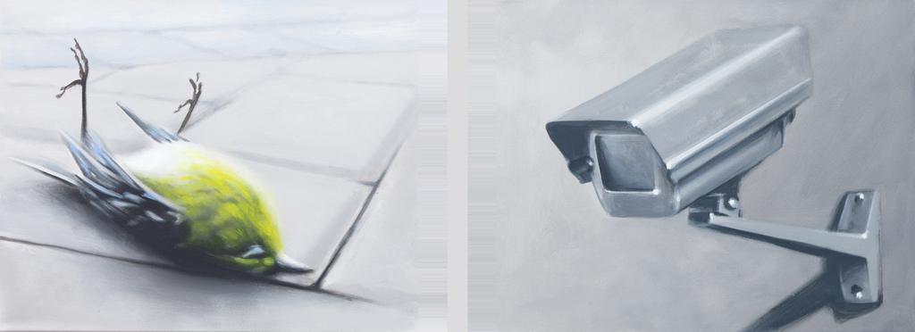 Zusammenhängend 07 (Vogel, Überwachungskamera) | 2012 | Öl auf Leinwand | je 40 x 50 cm Diptychon