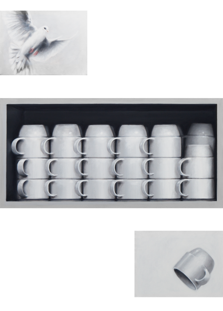 Zusammenhängend 08 (Tassenschrank, Tasse, Taube) | 2012 | Acryl auf Leinwand | dreiteilig 130 x 100 cm