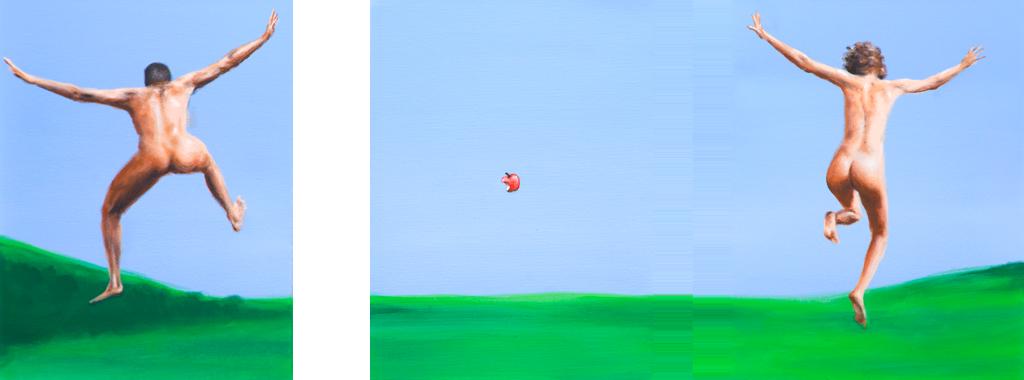 zusammenhängend 10 (Mann springend, Apfel angebissen, Frau springend) 2012, Acryl auf Leinwand, je 40 x 30 cm (Triptychon)
