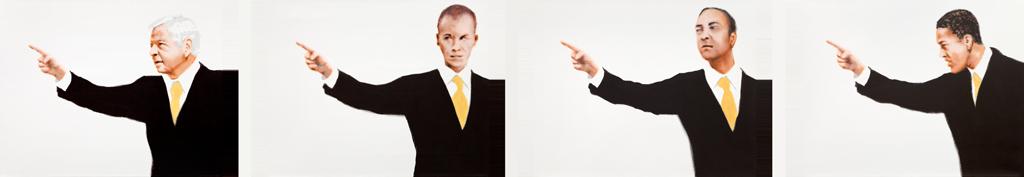 zusammenhängend 12 (Mann zeigend, auf Mann zeigend, auf Mann zeigend, auf Mann zeigend) | 2012 |  Acryl auf Leinwand | vierteilig je 50 x 40 cm