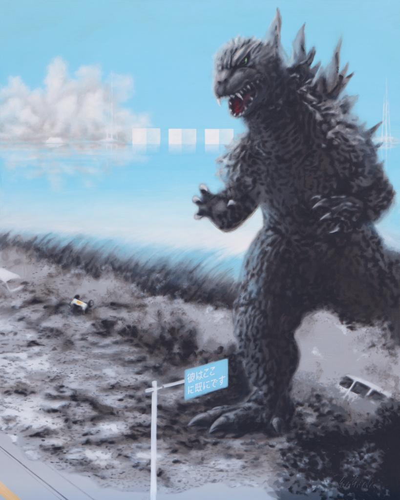 Zusammenhängend 14 (Fukushima, Tsunami, Godzilla) | 2011 | Acryl auf Leinwand | 200 x 160 cm